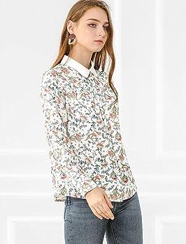 Allegra K Blusa De Trabajo Estampado Floral con Botones Camisa Cuello En Contraste Tapeta Completa Manga Larga para Mujer Blanco XS: Amazon.es: Ropa y accesorios