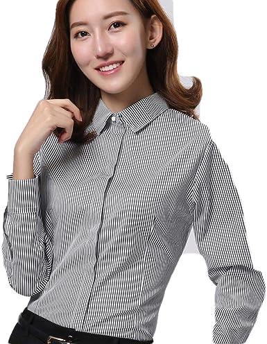 Blusas Y Camisas para Mujer Camisa Blanca De Mujer Autocultivo A Rayas Femenino@Figura_42: Amazon.es: Ropa y accesorios