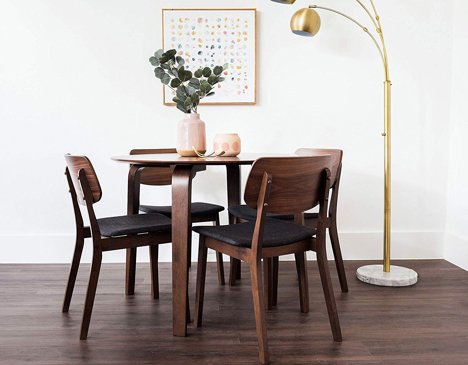Edloe Finch Dade Jackson Mid-Century Modern 5 Piece Round Dining Table Set for 4, Walnut