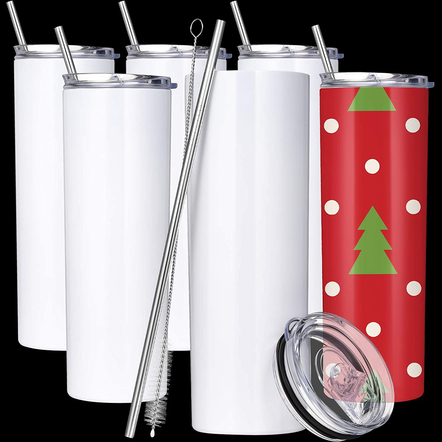 20oz Skinny Double Walled Stainless Steel Tumbler with Straw; DIY Tumbler; Blank Stainless Steel Tumbler
