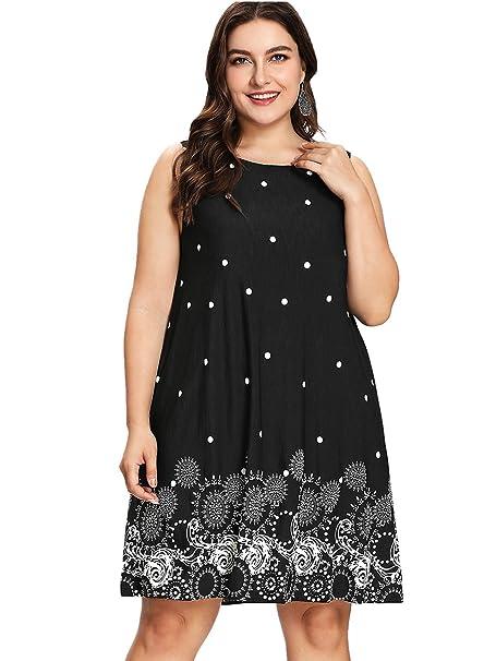 69b4cee12a Romwe Women s Plus Size Summer Sundress Floral Printed Sleeveless Casual A  Line Dress Black 0XL