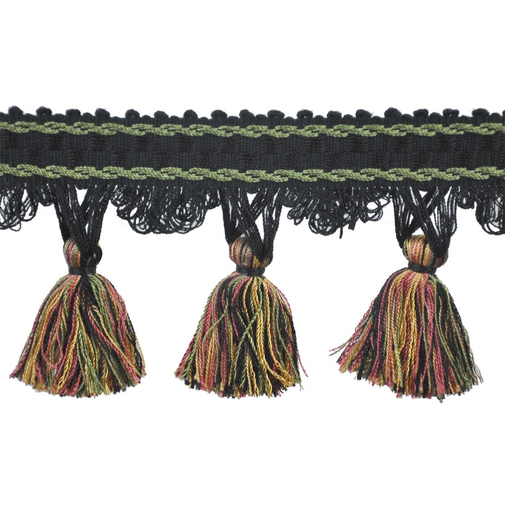 31/2'' Tassel Fringe on 25-Yard Roll, Black/Green and Gold by 31/2'' Tassel Fringe