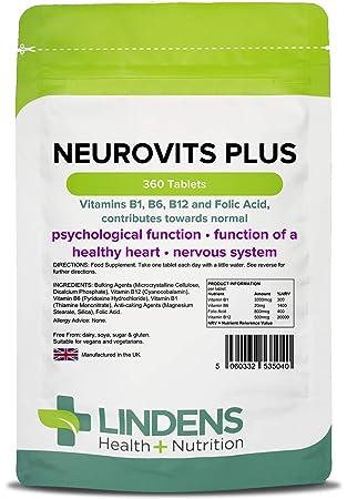 Lindens Neurovits Plus en comprimidos | 360 Paquete | Contiene vitaminas B1, B6, B12 y ácido fólico; contribuye al funcionamiento normal psicológico ...