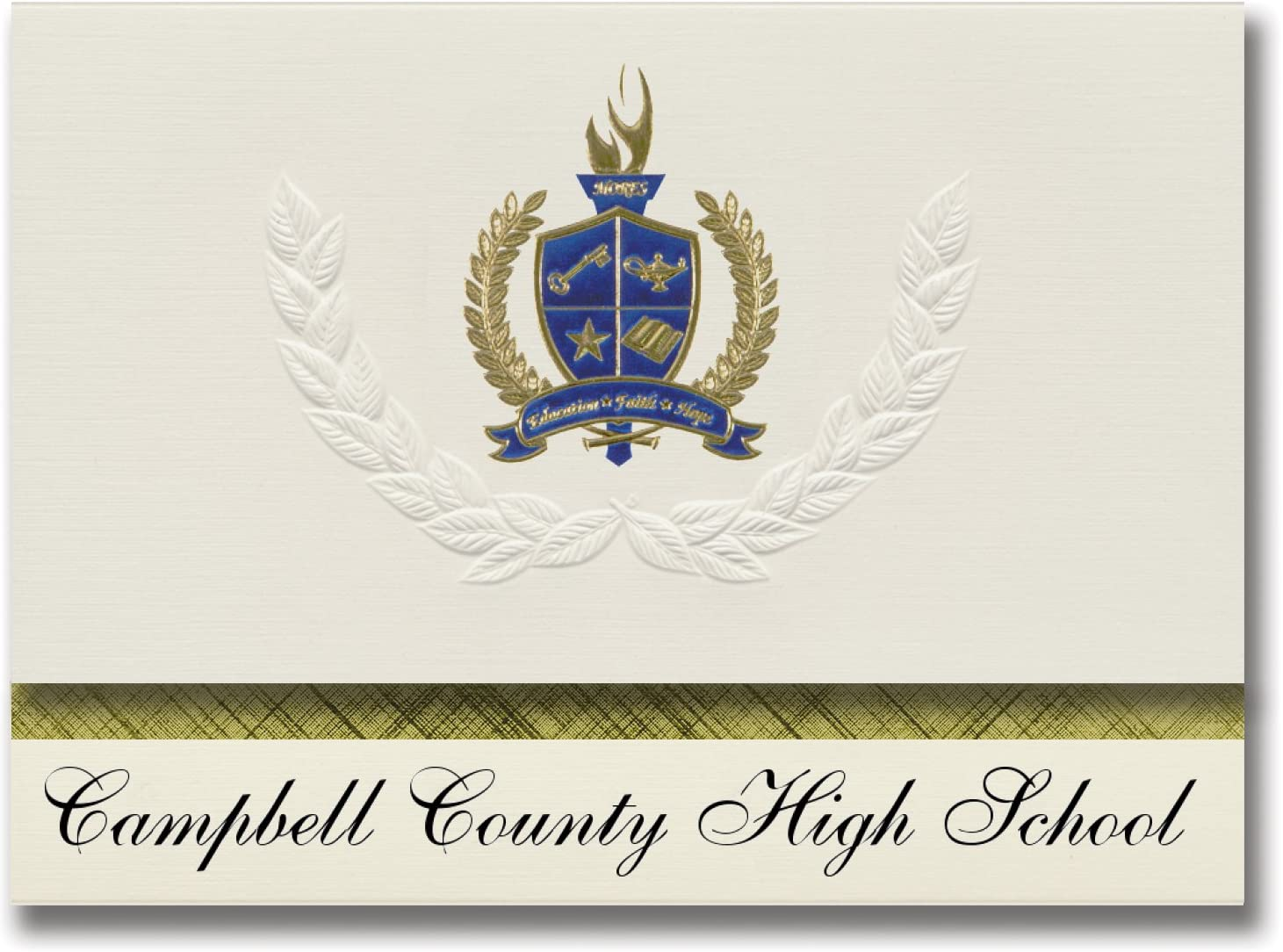 Signature Announcements Campbell County High School (Gillette, WY) Graduation Announcements, Presidential style, Basic package of 25 with Gold & Blue Metallic Foil seal