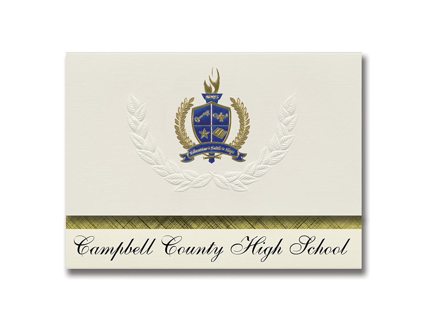 Signature Announcements Campbell County High School (Gillette, WY) Graduation Announcements, Presidential style, Elite package of 25 with Gold & Blue Metallic Foil seal