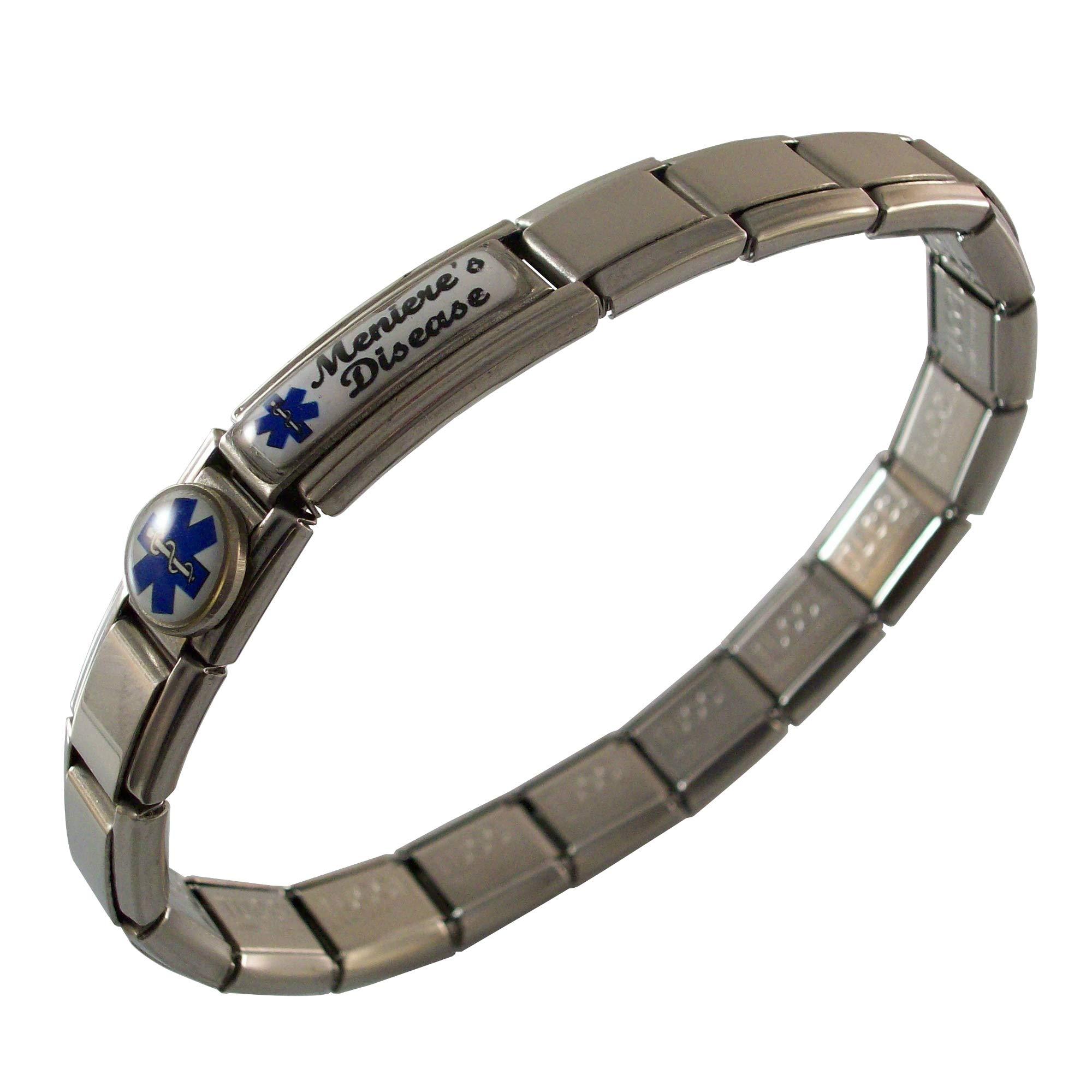 Gadow Jewelry Meniere's Disease Medical ID Alert Italian Charm Bracelet