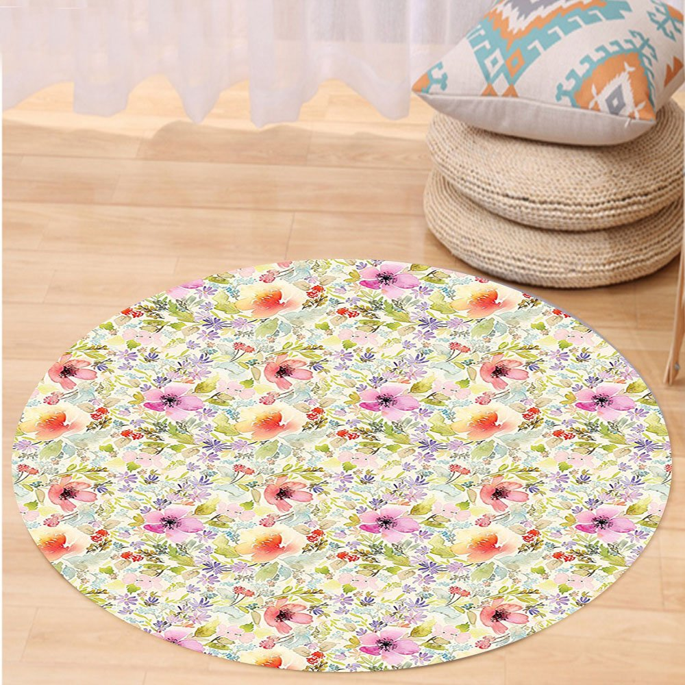 VROSELV Custom carpetFlower House Decor Nostalgic Pastel Soft Colored Different Type Cute Floral Set Spring Hope Leaf Love Theme Bedroom Living Room Dorm Decor Multi Round 79 inches