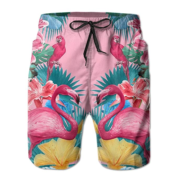 a575e858ef Amazon.com: NBNB2048 Mens Flamingos Flower Palm Pink Summer Holiday Swim  Trunks Beach Shorts Board Shorts: Clothing
