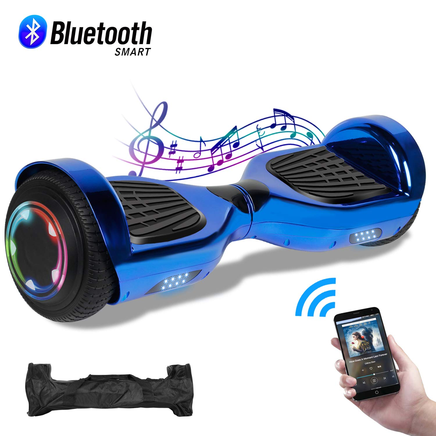 CBD Chrome Hoverboard for Kids, 6.5'' Electric Self Balancing Scooter, Hoverboard with Bluetooth Speaker and LED Lights, UL 2272 Certified Hover Board(Bluetooth A04-Blue) by CBD