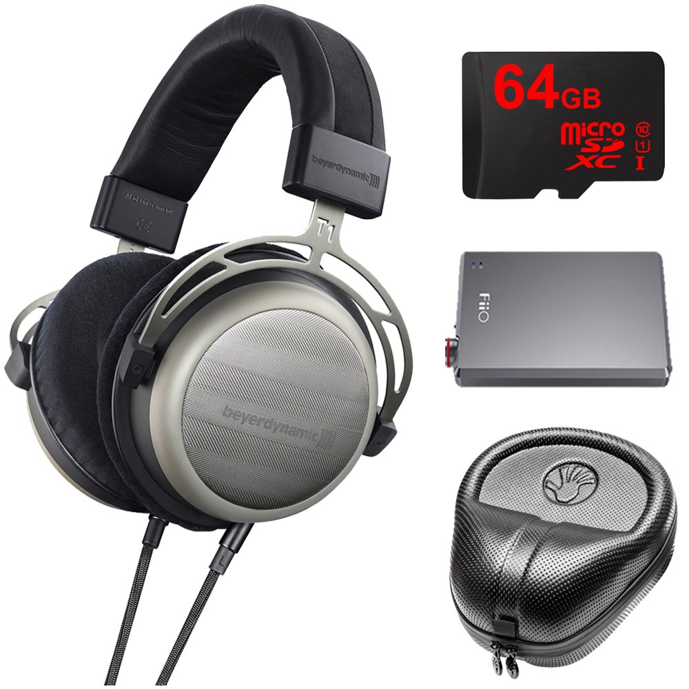 BeyerDynamic T1 Second Generation Audiophile Stereo Headphone 718998 w/ Amp Bundle Includes, FiiO A5 Portable Headphone Amplifier (Titanium), Slappa Headphone Case, 64GB MicroSDXC Memory Card by Beach Camera
