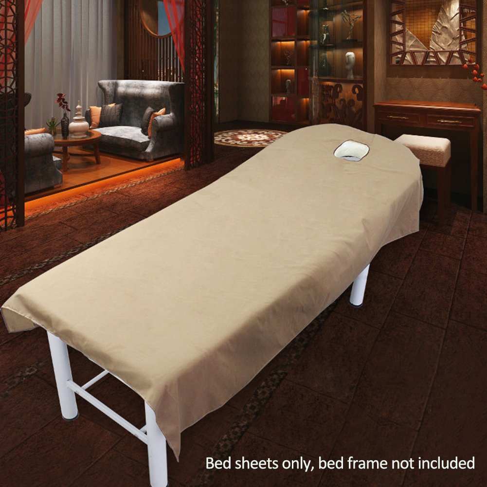 Beauty Massage Treatment Soft Sheets Spa Massage Treatment Table Bed Cover with Hole (camel) cyclamen9
