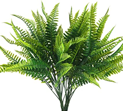 Huaesin 4pcs Artificial Fern Outdoor Faux Fern Plants Fake Boston Fern Plants Plastic Greenery Bushes Shrubs Bundles Patio Basket Pot Hanging Garden Planter Indoor Outside Decor 40cm Amazon Co Uk Kitchen Home
