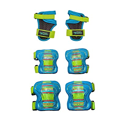 Flybar AERO Elbow, Knee and Wrist Guard Safety Set - Multi Sport Protection for Skateboarding, BMX, Pogoing, Inline Skating, Scooter – Junior Size Ages 5 to 10 (Blue, S/M) : Sports & Outdoors