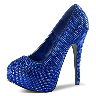 15fe1daaa71 Summitfashions Bright Royal Blue Pumps with Rhinestones and 5.75 Inch  Stiletto Heels Size  6