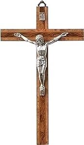 Polished Silver Tone Corpus Natural 6.5 x 10.5 Burled Wood Wall Crucifix