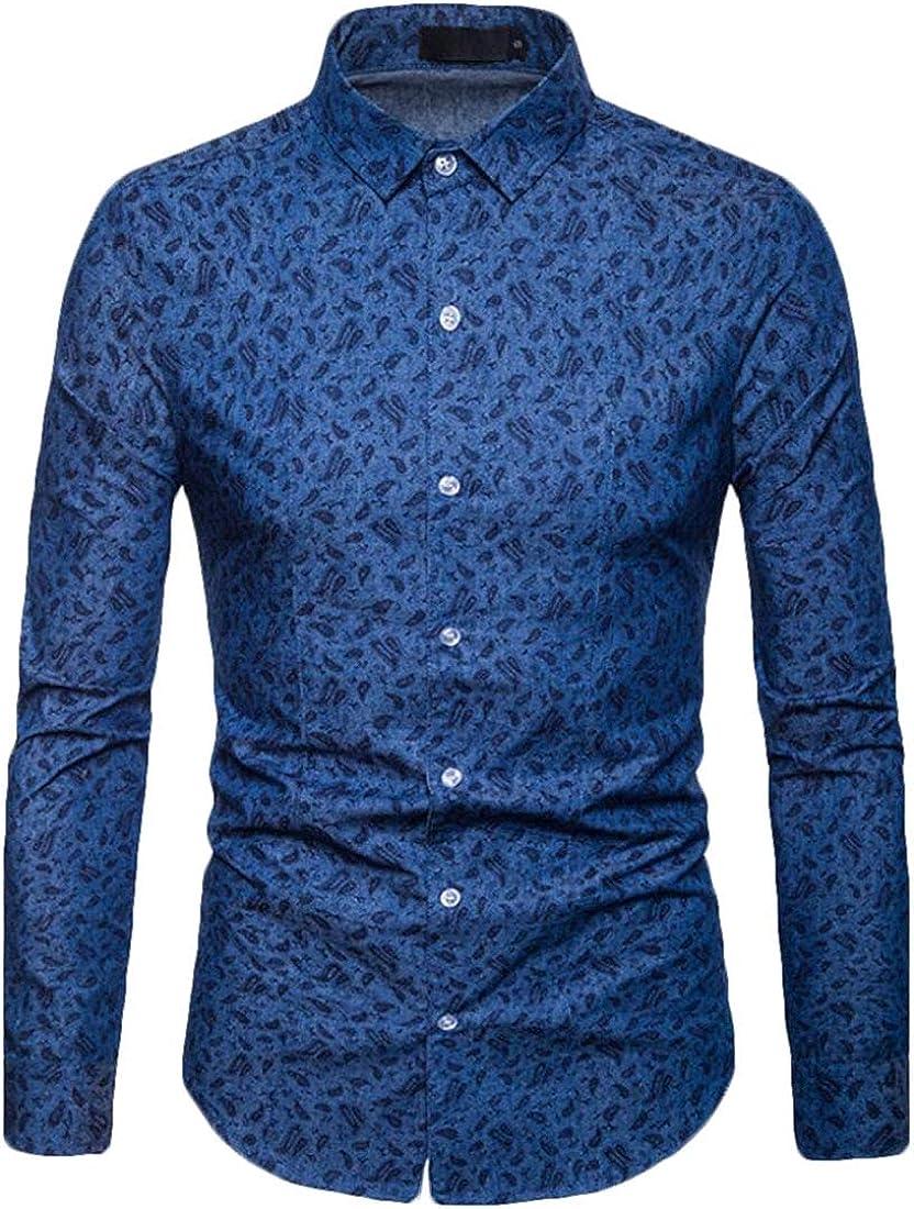 Gocgt Mens Floral Print Slim Fit Long Sleeve Shirt Casual Button Down Shirt