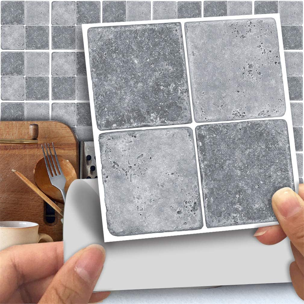 25 Pack Kitchen Bathroom Tile Stickers Mosaic Sticker Self-adhesive Wall-Decor