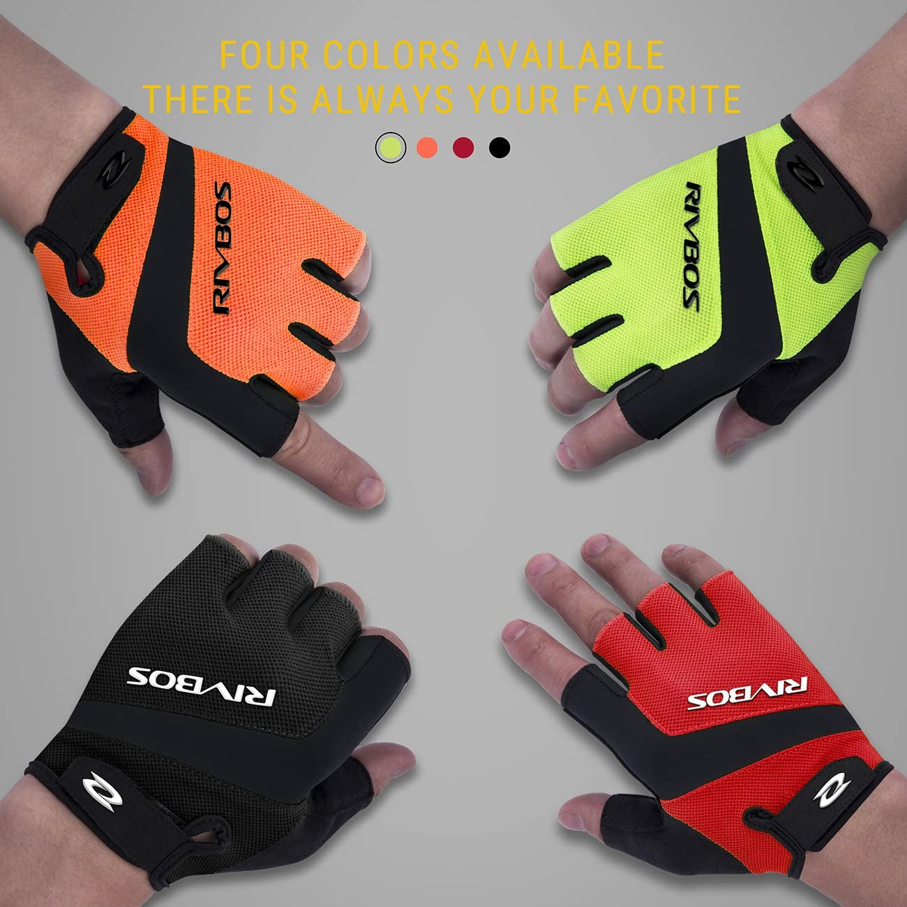 RIVBOS Bike Gloves Cycling Gloves Fingerless for Men Women with Foam Padding Breathable Mesh Fashion Design for Motorcycle Bicycle Mountain Riding Driving Sports Outdoors Exercise CHG004 Yellow XL