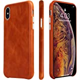 iPhone X/XS Case, TOOVREN Handmade Premium Genuine Leather Protective Ultra Thin Phone Cover with Supporting Wireless Charging for 5.8 inch Apple iPhone Xs 2018 X/10 2017 Brown