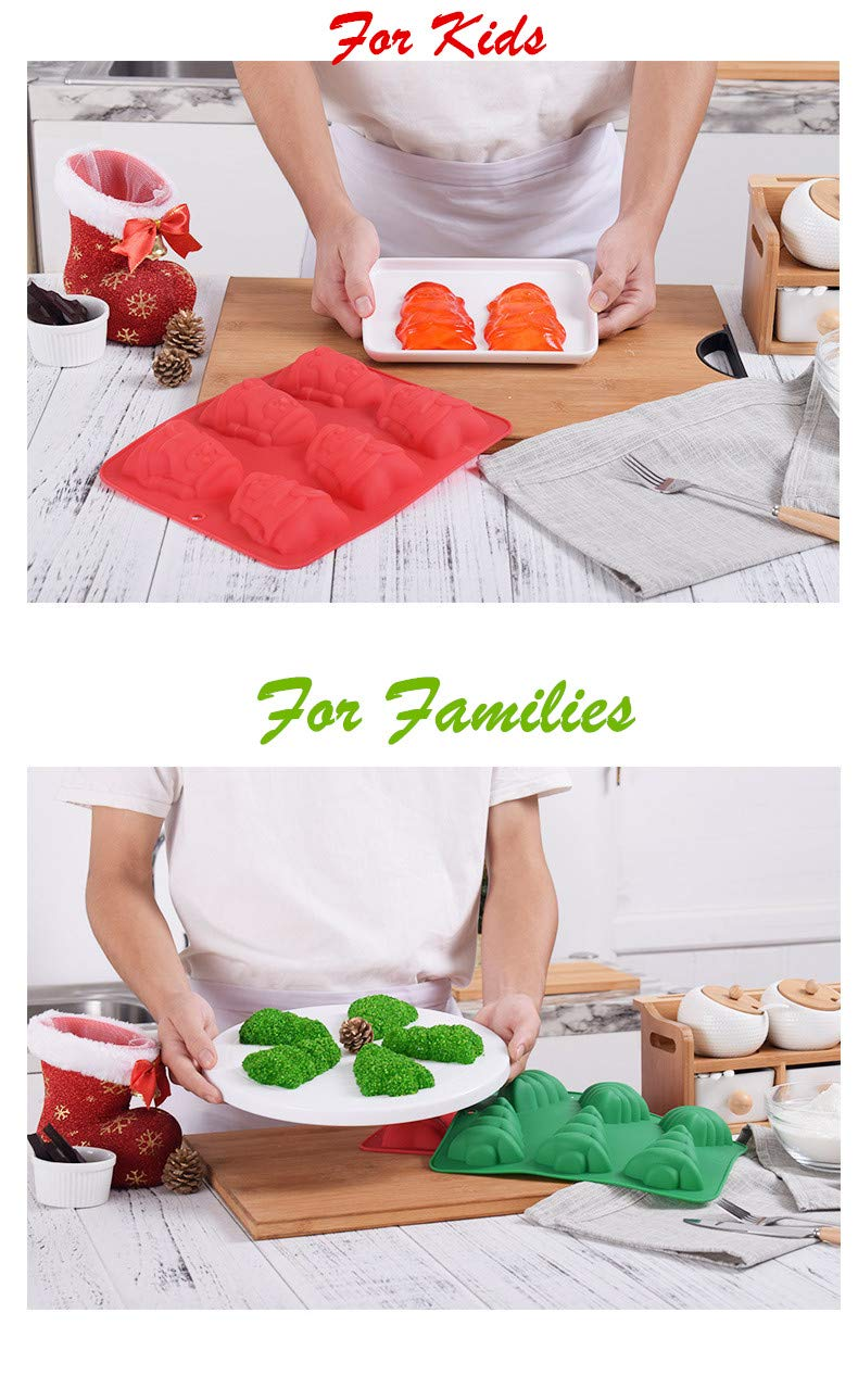 Red /& Green Xmas Tree Santa Claus Handmade Biscuit Jelly Ice Cube Tray DIY Non-Stick Silicone Baking Mold KeepingcooX/® Christmas Chocolate Moulds Set of 2