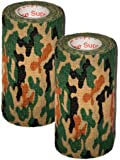 Prairie Horse Supply 2 Pack Camo Camouflage Vet Wrap Rap Tape 2, 3 or 4 inch x 15 Feet Self Adhesive Adherent Tactical Stealth Non Woven Fabric Stretch Bandage Protect Outdoor Military Gear