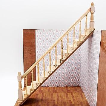 Amazon.es: Odoria 1/12 Miniatura Escalera de Madera Pre-ensamblada con Barandilla Derecha Muebles para Casa de Muñecas: Juguetes y juegos