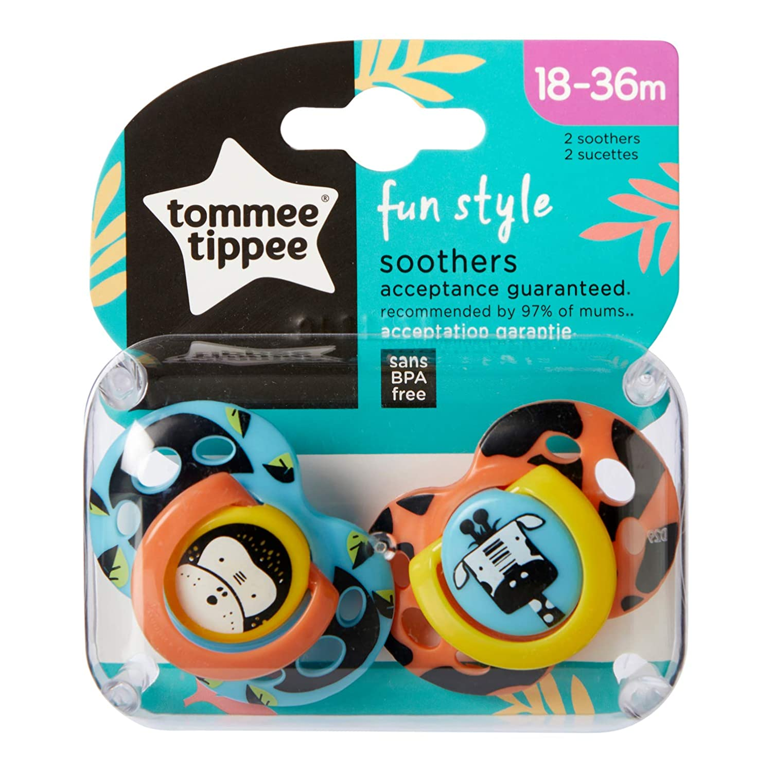 Tommee Tippee Closer to Nature - Chupetes, 2 unidades, diseño Fun, para 18-36 meses, color azul