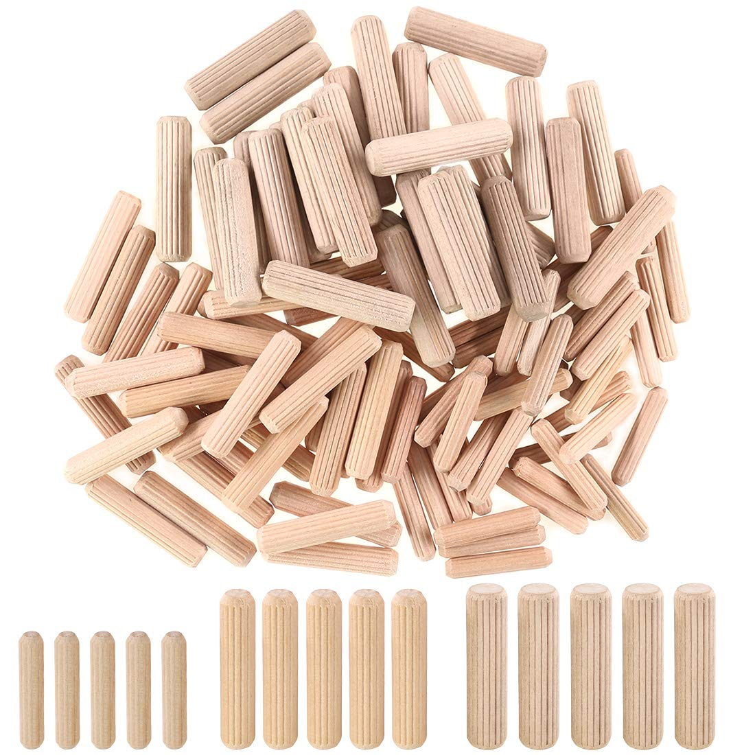 "Hilitchi 400pcs 1/4"" 5/16"" 3/8'' L Fluted Wood Dowel Pins Beveled Ends Tapered for Easier Insertion Straight Grooved Pins for Furniture Door and Art Projects"