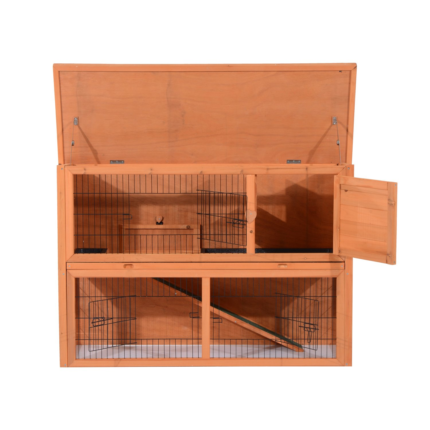 PawHut 48'' Multi Level Compact Wooden Playpen Outdoor Rabbit Small Animal Pet Cage With Enclosed Run by PawHut (Image #6)