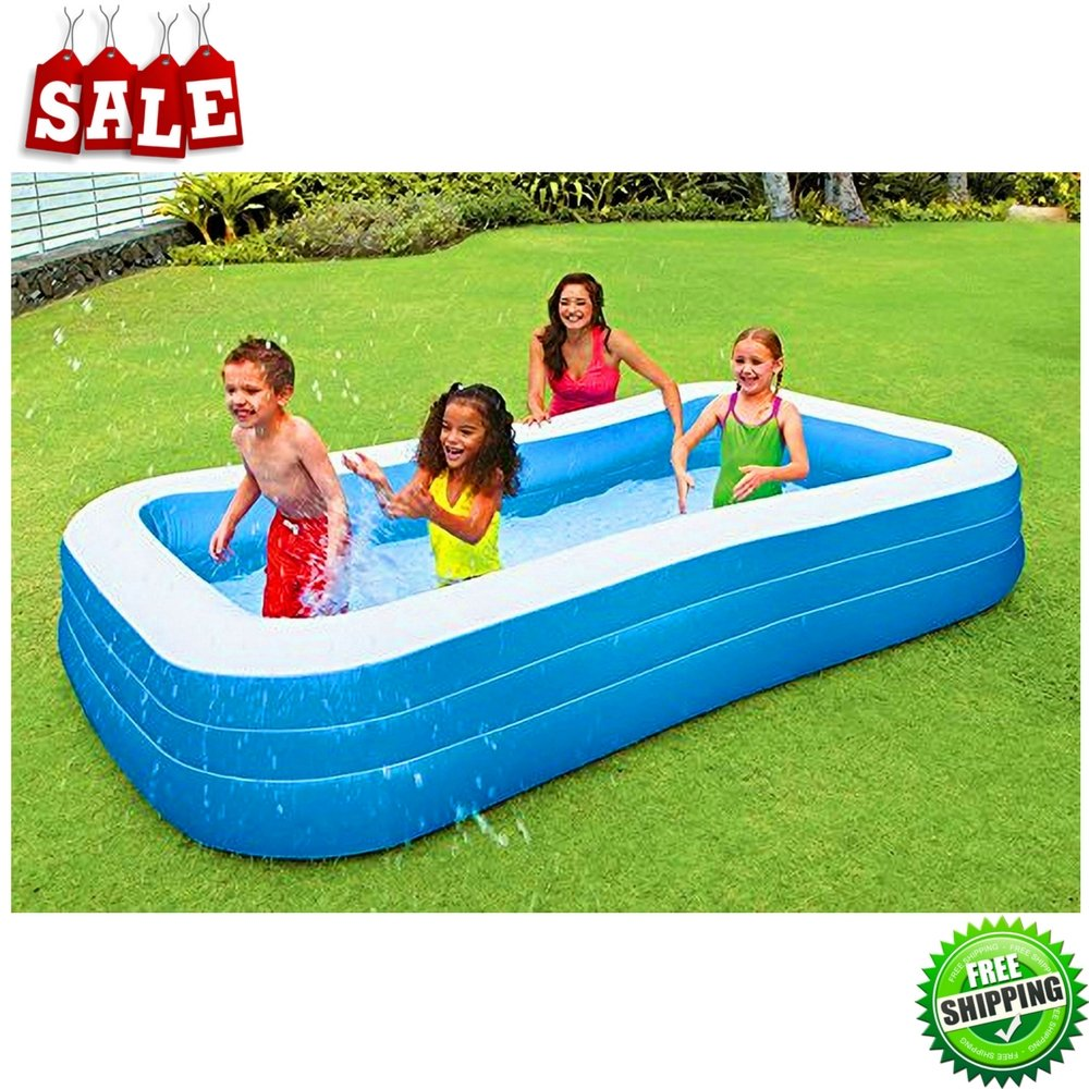 BS Family Inflatable Pool Blue Swimming Pool Outdoor Lawn Patio Backyard Garden Kids Children & Adults Fun Summer Vacation Portable Pool & eBook by BADA shop