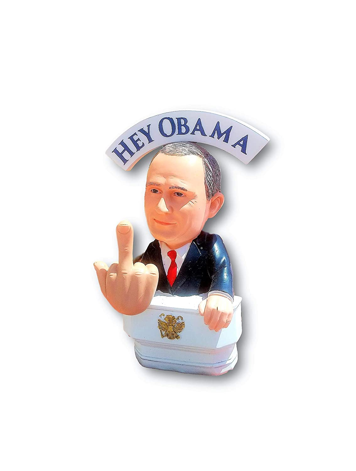 Limited Edition Large Statue Gift Box Bobble Fingers Vladimir Putin Bobble Doll Bobblehead Style Middle Finger Hey Hillary Flippin Off BOBBLING Hands
