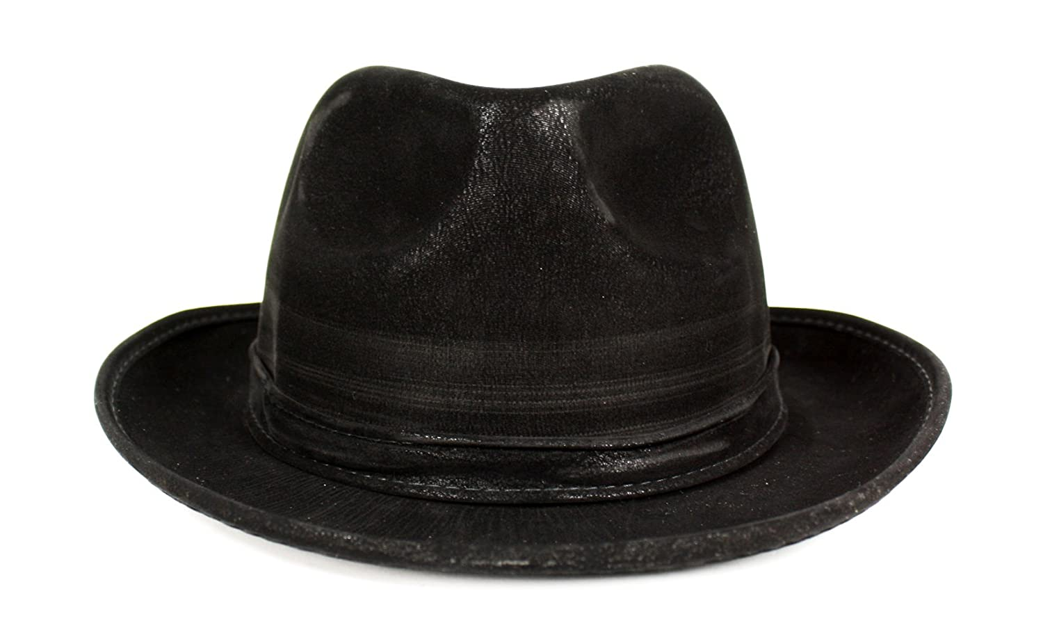 Gangster Style Faux Leather Fedora Hat