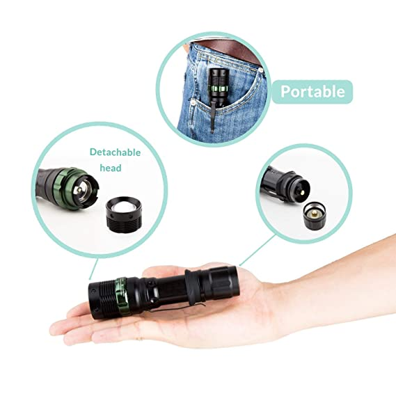 LED LEADER (2PACKS) Tactical Flashlight, S03D LED Flashlight, High Lumen, Super Bright, Military Grade Handheld Tac Light for Hiking, Camping, ...
