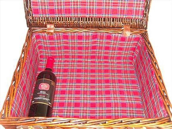 36x30x16cm Premium VINTAGE BROWN Wicker Hamper Basket with TARTAN LINING MEDIUM 14