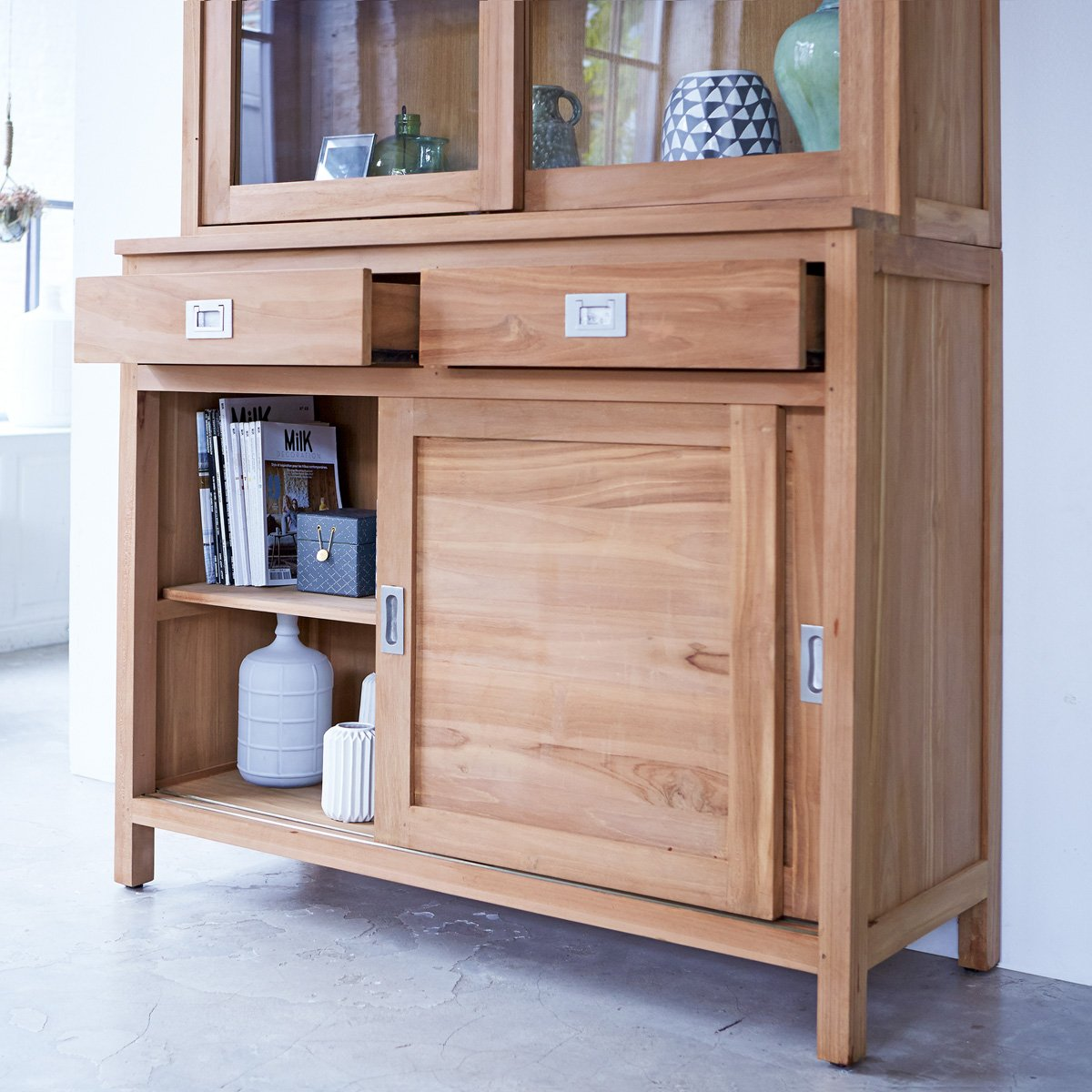 Solid Teak Wood Kitchen Dresser Dining Cabinet Sliding Doors Living Room Amazoncouk Home