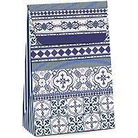 Caixa Para Presente Trapézio Cromus Embalagens na Estampa Azulejo com Aba de Fechamento 19x9,5x29 cm com 10 Unidades