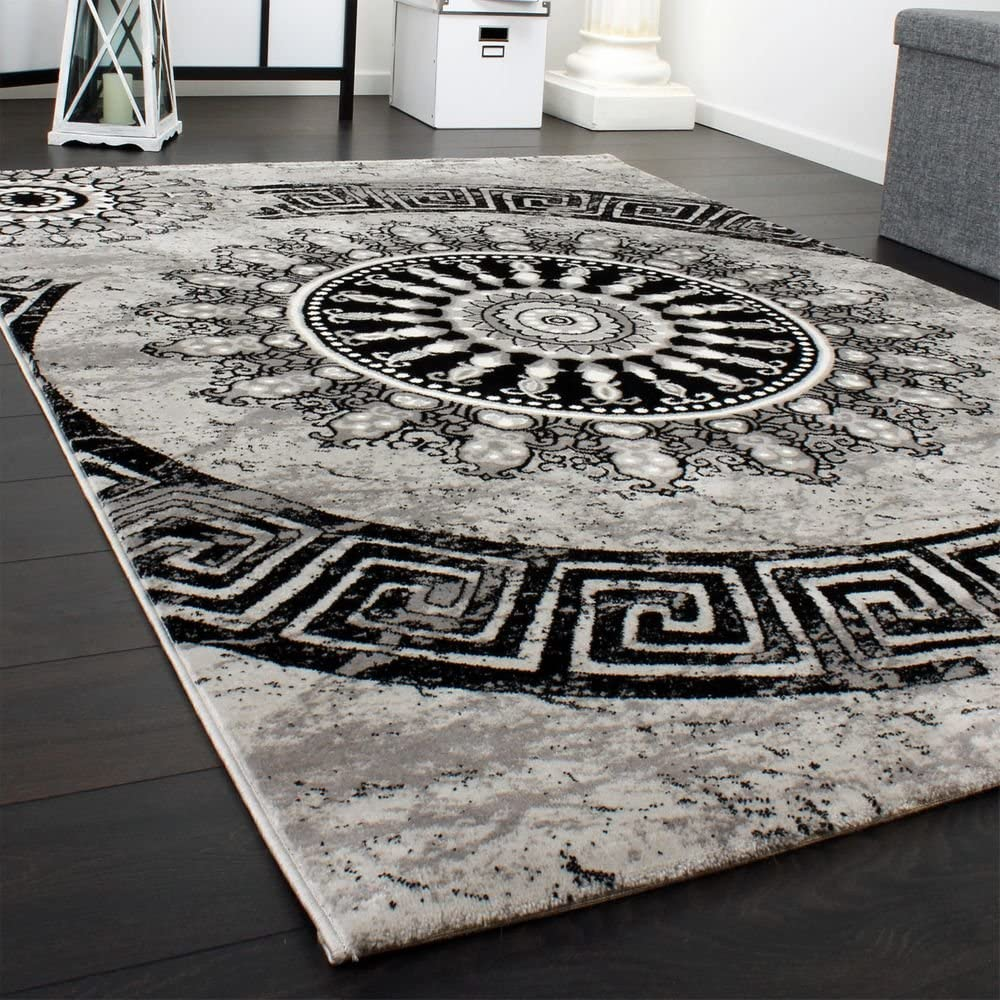 Paco Home Tappeto Classico Lavorato Cerchio Ornamenti Marrone Beige Nero Screziato Dimensione:60x100 cm