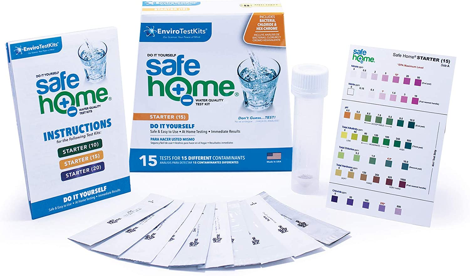 Safe Home STARTER-15 Water Quality Test Kit - (DIY Testing for 15 Different Contaminants: Bacteria, Nitrates, Hex-Chrome, TDS, Zinc, Chlorine, Copper, pH, Iron, Sulfate, Chloride & More)
