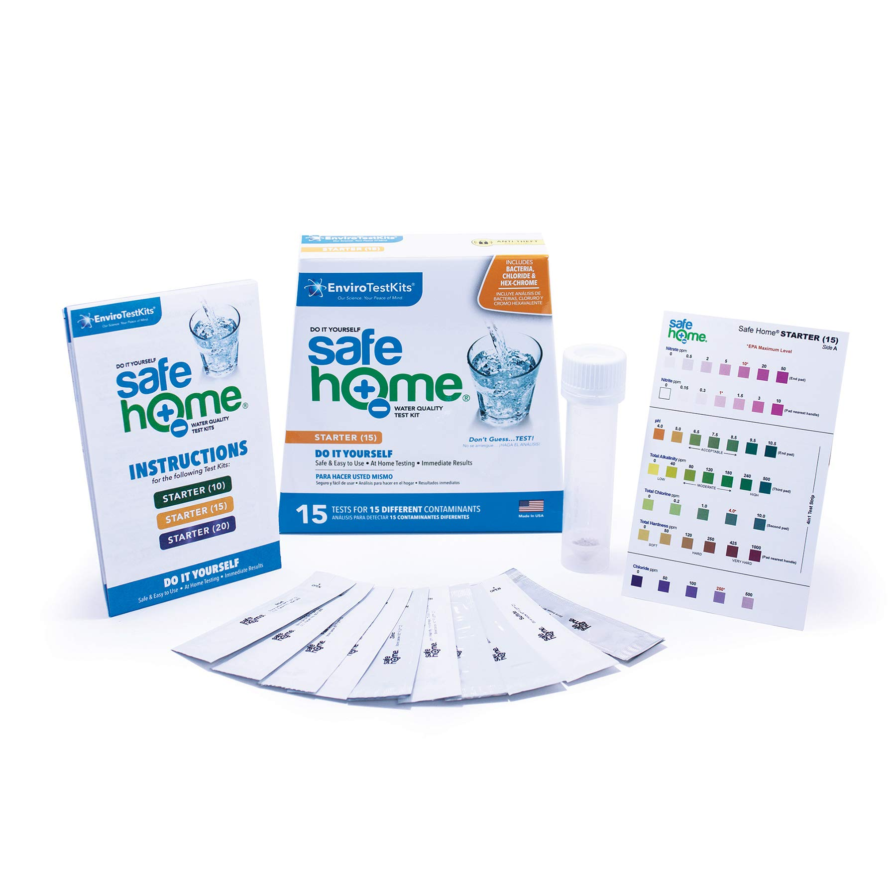 Safe Home STARTER-15 Water Quality Test Kit - (DIY Testing for 15 Different Contaminants: Bacteria, Nitrates, Hex-Chrome, TDS, Zinc, Chlorine, Copper, pH, Iron, Sulfate, Chloride & More) by Safe Home