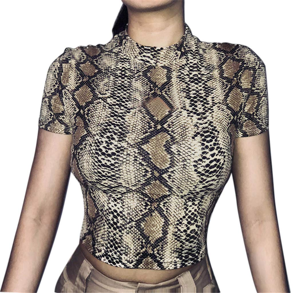 Malbaba Fashion Women O-Neck Short Sleeve Snake Striped Print Short Crop Top T-Shirt Brown by Malbaba Women Blouse (Image #1)