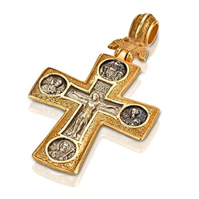 Silver gold russian orthodox cross pendant jesus christ 5cm amazon silver gold russian orthodox cross pendant jesus christ 5cm aloadofball Images