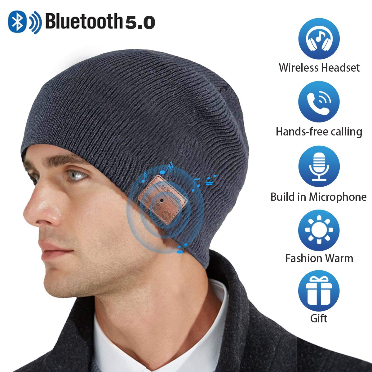 Upgraded Bluetooth Beanie Hat,V5.0 Wireless Headphones Headset Music Hat Unisex Winter Knit Cap Built-in Stereo Speakers Microphone Siri Unique Christmas Tech Gifts for Boyfriend Women Men(Gray) by Lukasa