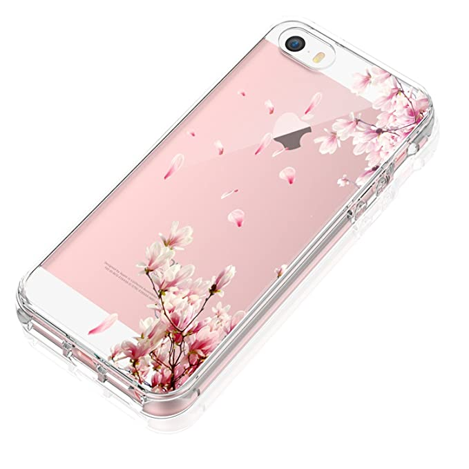 d56bb20004b Funda iPhone SE Suave Gel Silicona Mariposas iPhone 5 Protectora Carcasa  Antideslizante Ultra Delgado Anti-