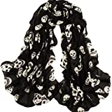 ECOSCO Scarf Girls Skulls Printed Black Long Soft Scarf Shawl, White
