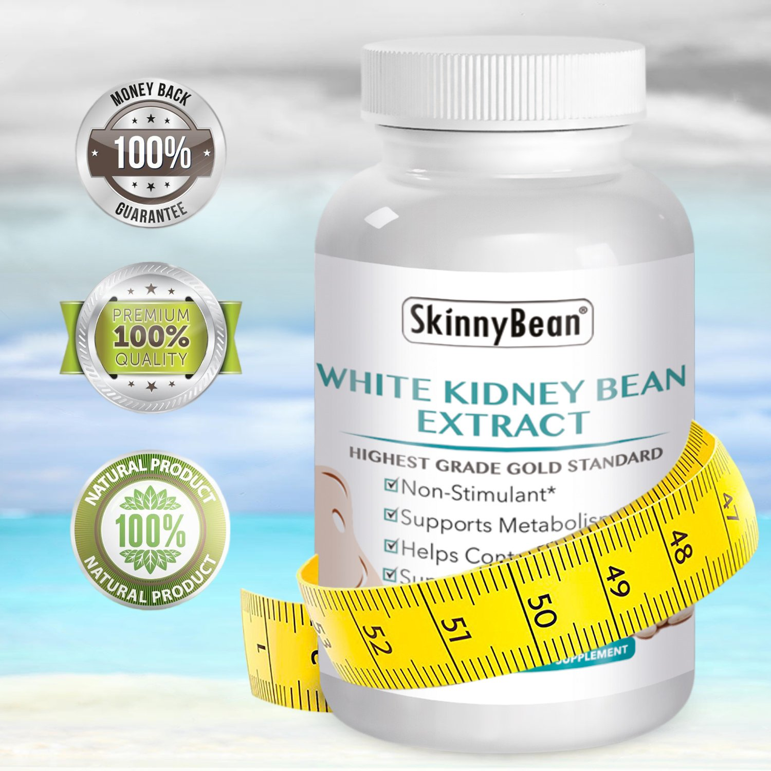 CARB Blocker ★ Premium ★ Pure White Kidney Bean Extract - Weight Loss Pills - Carb Blocker Buster Pill - Lose Weight Fast by Skinny Bean