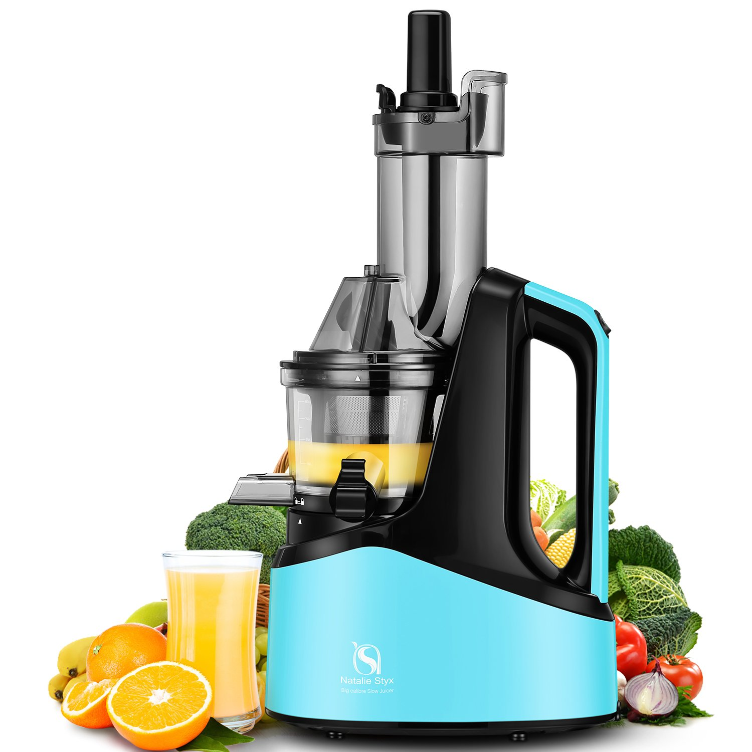 Natalie Styx Juicer Slow Masticating Juicer Extractor, 3'' Wide Chute Anti-Oxidation Cold Press Juicer , 240W AC Motor, with Juice Jug and Brush, High Nutrient Fruit and Vegetable Juice, Blue