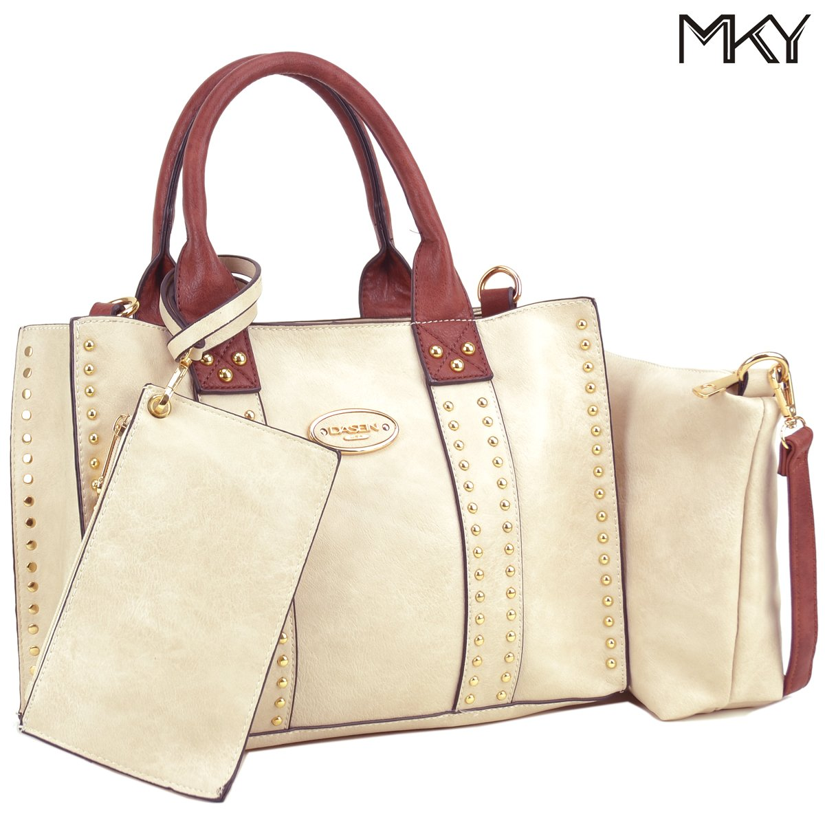Women Handbag 3 Pieces Set Leather Shoulder Bag Satchel Purse 3 in 1 Simple Design Beige/Coffee