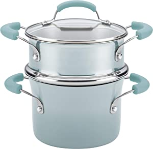 Rachael Ray Classic Brights Collection Porcelain II 3 Qt. Covered Saucepan with Steamer Insert, Sky Blue
