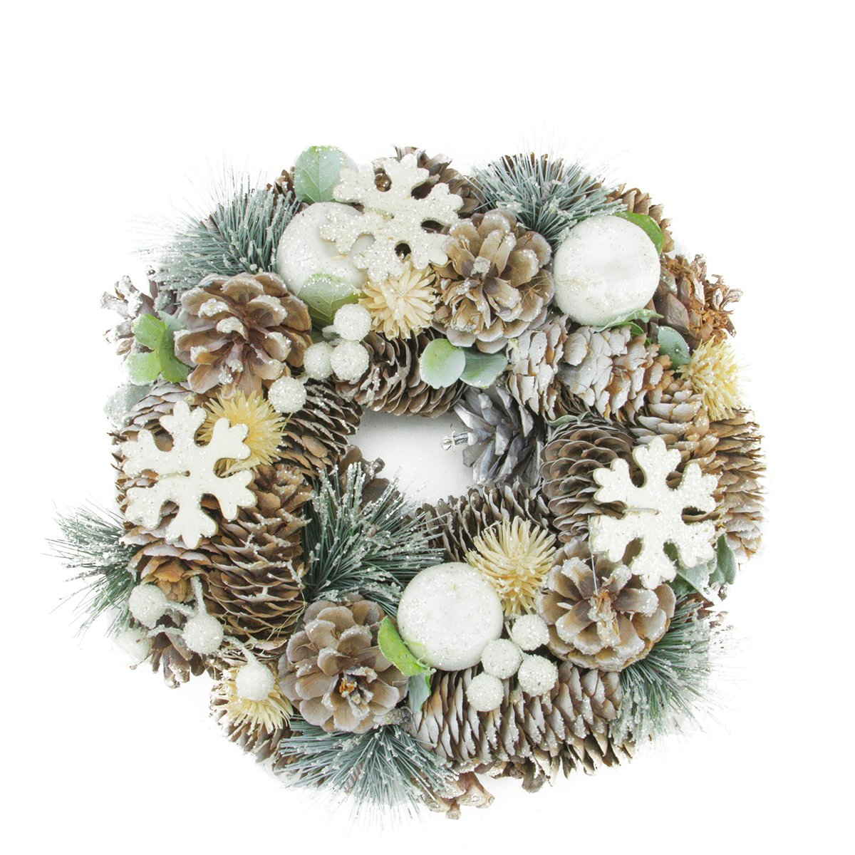 Frosted Glittery Artificial Pine Cone Snowflake Christmas Wreath