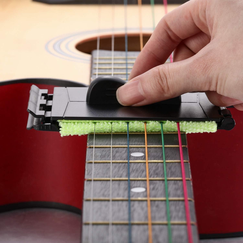 Juego de 4 limpiadores de cuerdas para guitarra y diapasón con 3 ...